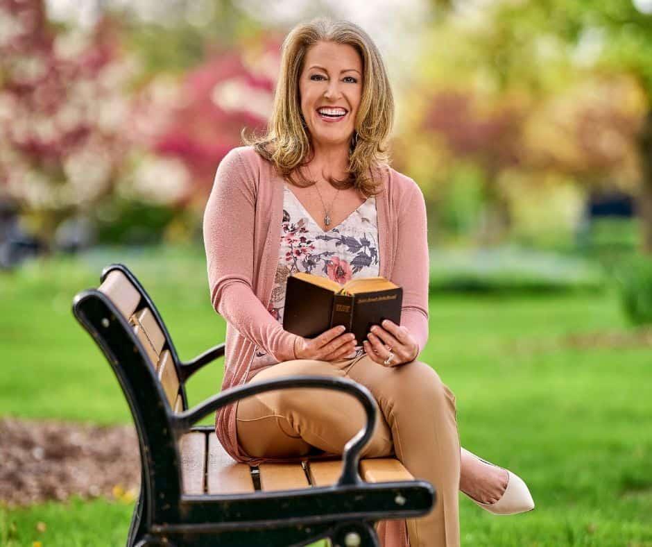 Kendra Von Esh sitting on a bench