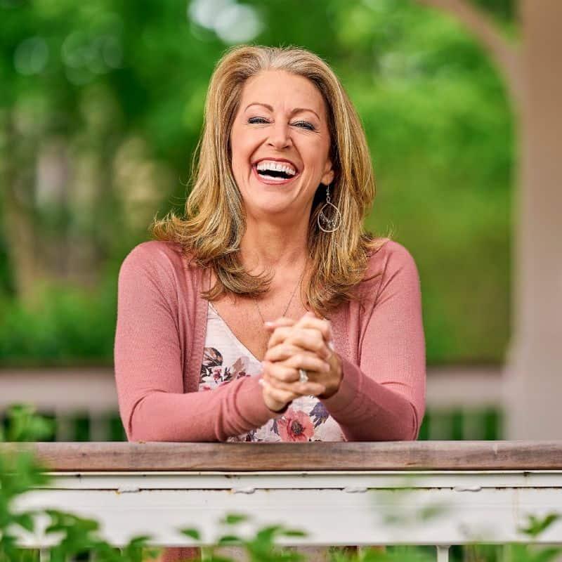 Kendra Von Esh smiling in the garden